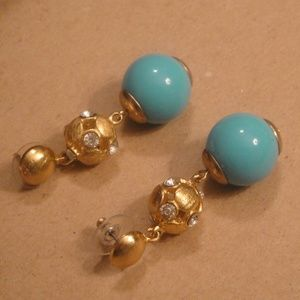 Ball dropped post Earrings Gold/Turquoise/Crystal